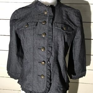 Sandro Dark Wash Ruffle Denim Jacket